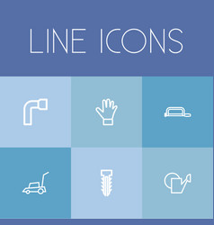 set of 6 editable tools outline icons includes vector image vector image