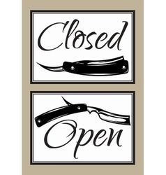 Set of vintage door signs for barber shop with vector image vector image