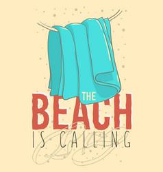 beach summer design with flip flops slippers beach vector image vector image