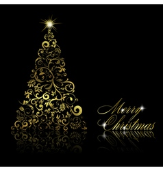 christmas tree with swirls vector image