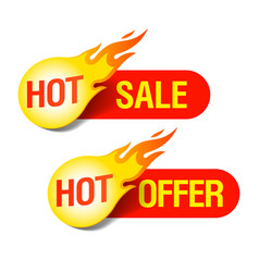 hot sale and hot offer labels vector image