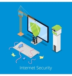 Isometric Internet Security and Data Protection vector image
