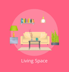 Living space promo poster with interior design vector