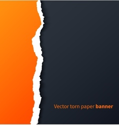 Orange torn paper with drop shadows on dark vector image vector image