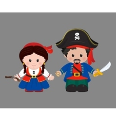 Pirates in cartoon style vector image vector image