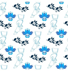 Seamless wedding pattern with blue flowers vector image vector image