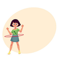 teenage caucasian girl spinning playing with hula vector image vector image