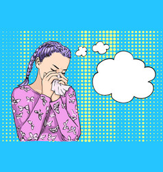 beautiful blond bunches haired girl sneezing vector image