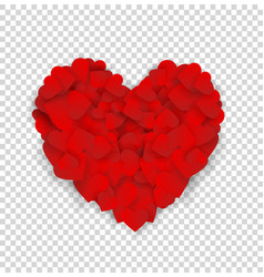 big red heart made of small hearts isolated on vector image