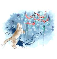 cat and santas vector image