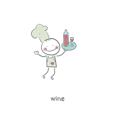Chef and wine vector image vector image