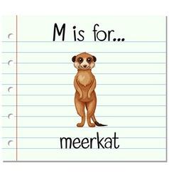 Flashcard letter m is for meerkat vector