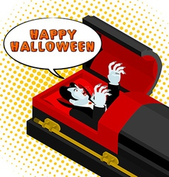 Happy Halloween Dracula screams from grave Vampire vector image