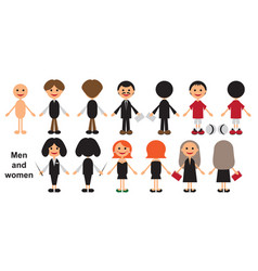 men and women front and back vector image vector image