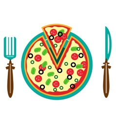 Picture of plate with pizza vector image vector image