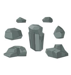 stones and rocks cartoon boulders set vector image
