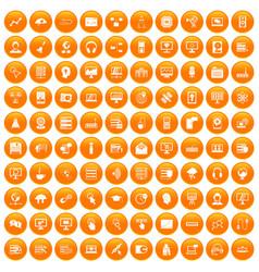 100 on-line seminar icons set orange vector