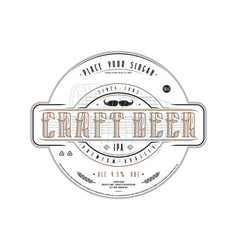 craft beer label template in vintage style vector image vector image