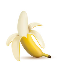 3d half peeled banana isolated on a white vector