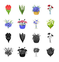 a bouquet of fresh flowers blackcartoon icons in vector image