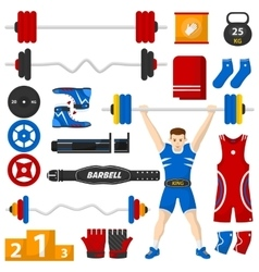 A man with a barbell over his head vector