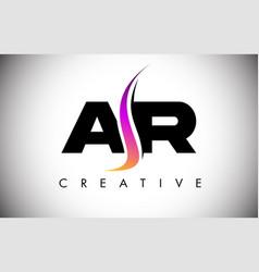 Ar letter logo design with creative shoosh vector