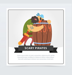 bearded pirate sleeping on a wooden barrel of rum vector image