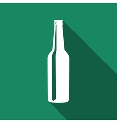 Beer bottle flat icon with long shadow vector