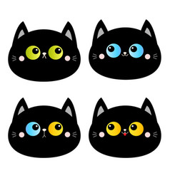 black cat head face set blue yellow green eyes vector image