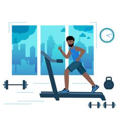 Black man running on motorized treadmill in gym vector