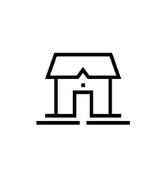 black thin line simple house icon vector image