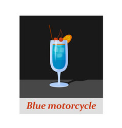 Blue motorcycle cocktail menu item or any kind of vector