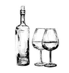 bottle wine and two glasses vector image