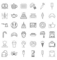Burnt sugar icons set outline style vector