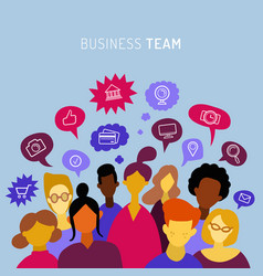 business team sharing ideas talking teamwork vector image