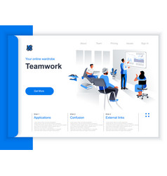 business teamwork isometric landing page vector image
