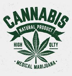 Cannabis grunge emblem vector