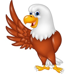 Cartoon eagle waving isolated on white background vector