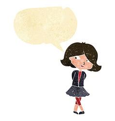 Cartoon happy girl with speech bubble vector
