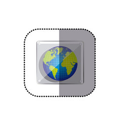 Color earth planet emblem icon vector