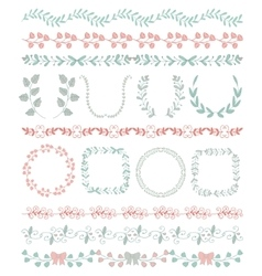 Colorful Hand Sketched Seamless Borders Frames vector image