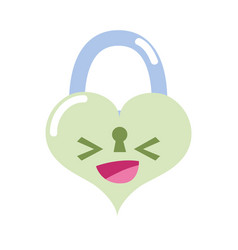 Colorful happy heart padlock kawaii personage vector