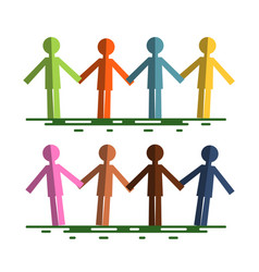 colorful paper cut people holding hands isolated vector image