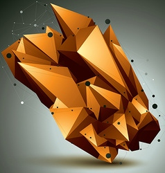 Complicated abstract golden 3D shape digital vector