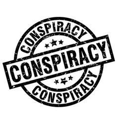 Conspiracy round grunge black stamp vector
