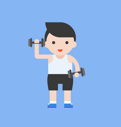 cute character weight lifting set flat design vector image