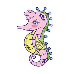 cute seahorse tropical sea animal vector image