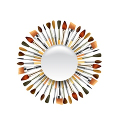 Different paint brushes in the circle isolated on vector image