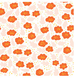 Ditsy flower meadow seamless pattern pink vector