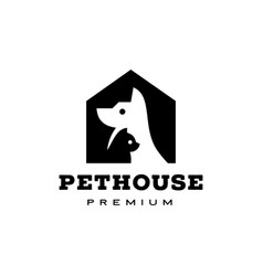 dog cat pet house home logo icon vector image